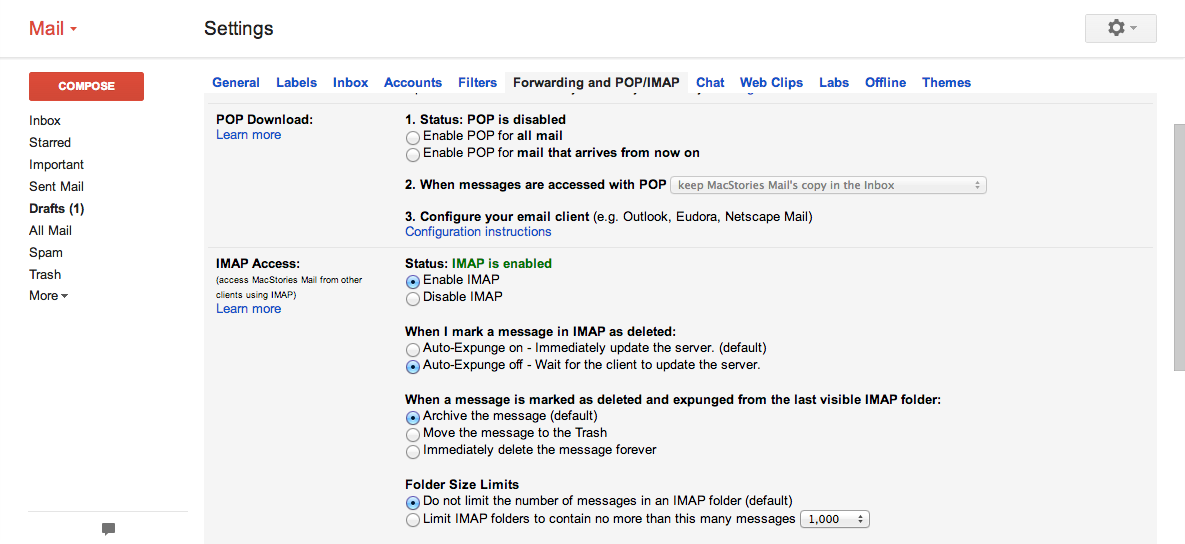 gmail pop settings for outlook mac