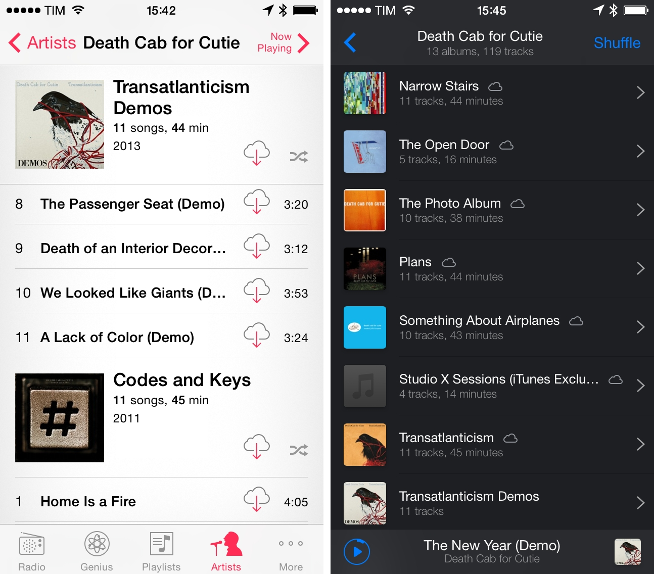 Ecoute for iPhone (right) provides a compact visualization of an artist's albums.