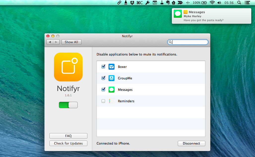 Notifyr Lets You Receive iOS Notifications on Your Mac