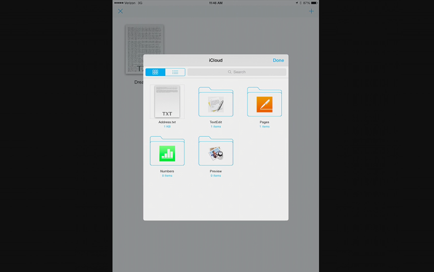 The iOS 8 document picker, from Apple's developer session.