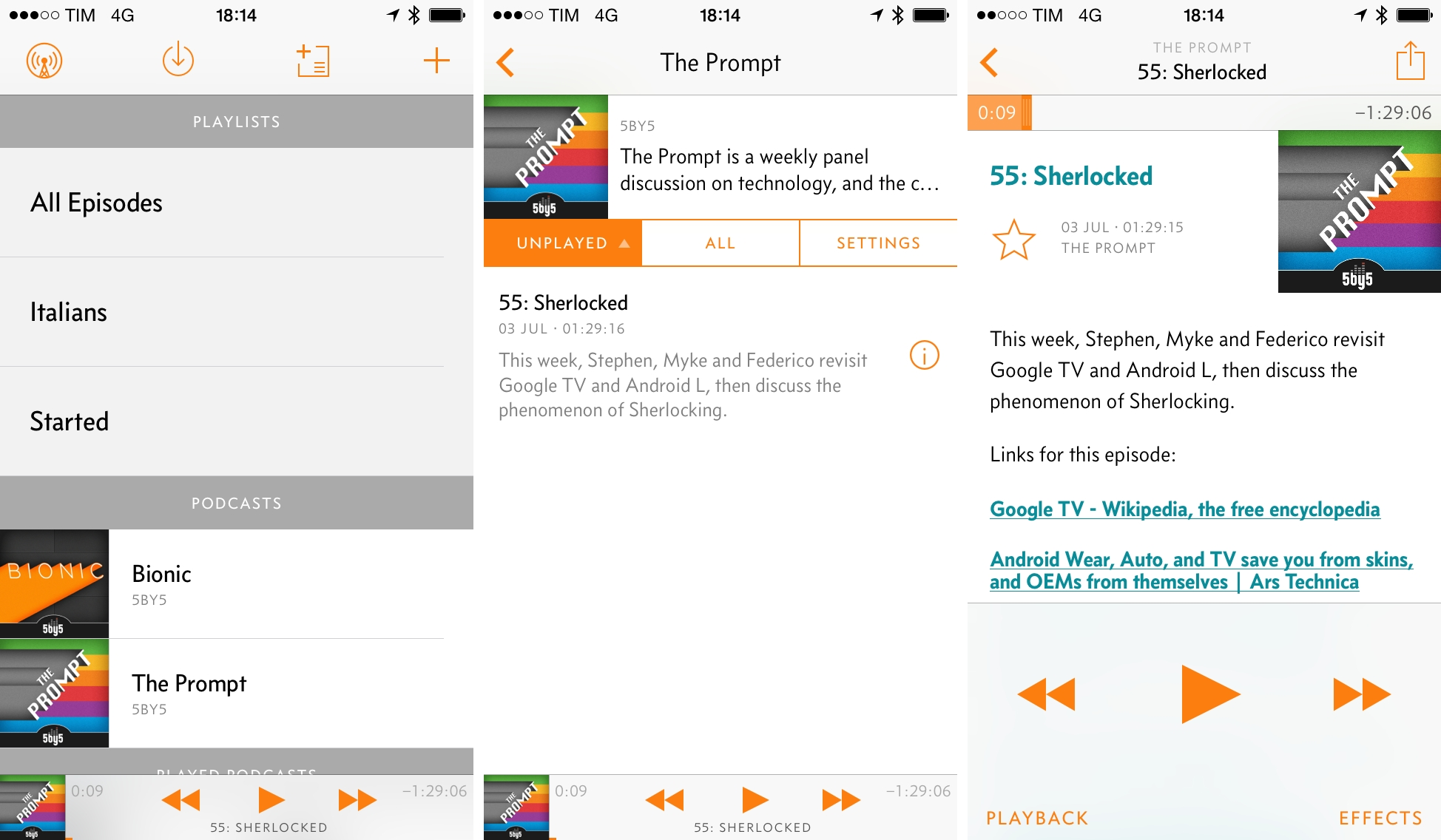 Overcast's progression: playlists and podcasts; individual show; show notes in the playback screen.