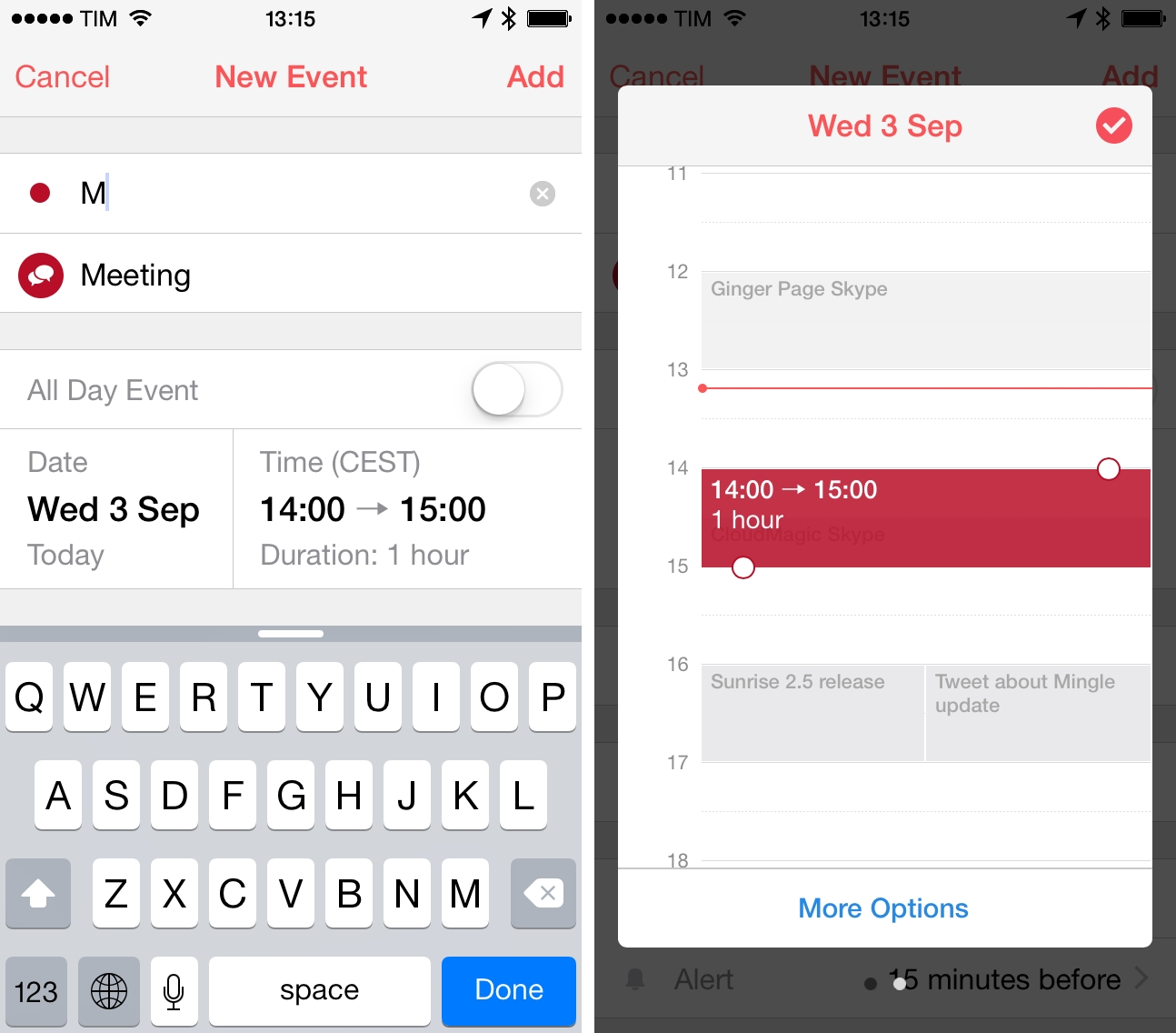 Sunrise's UI for creating events with automatic icon suggestion (left) and day preview (right).