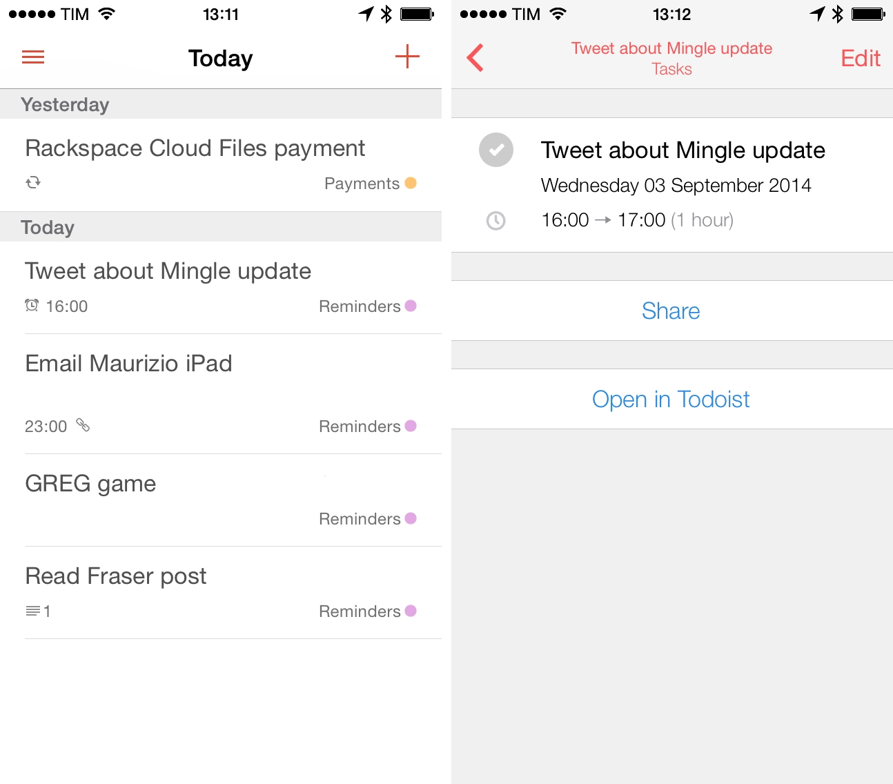 Todoist for iPhone (left) and Todoist tasks in Sunrise (right).