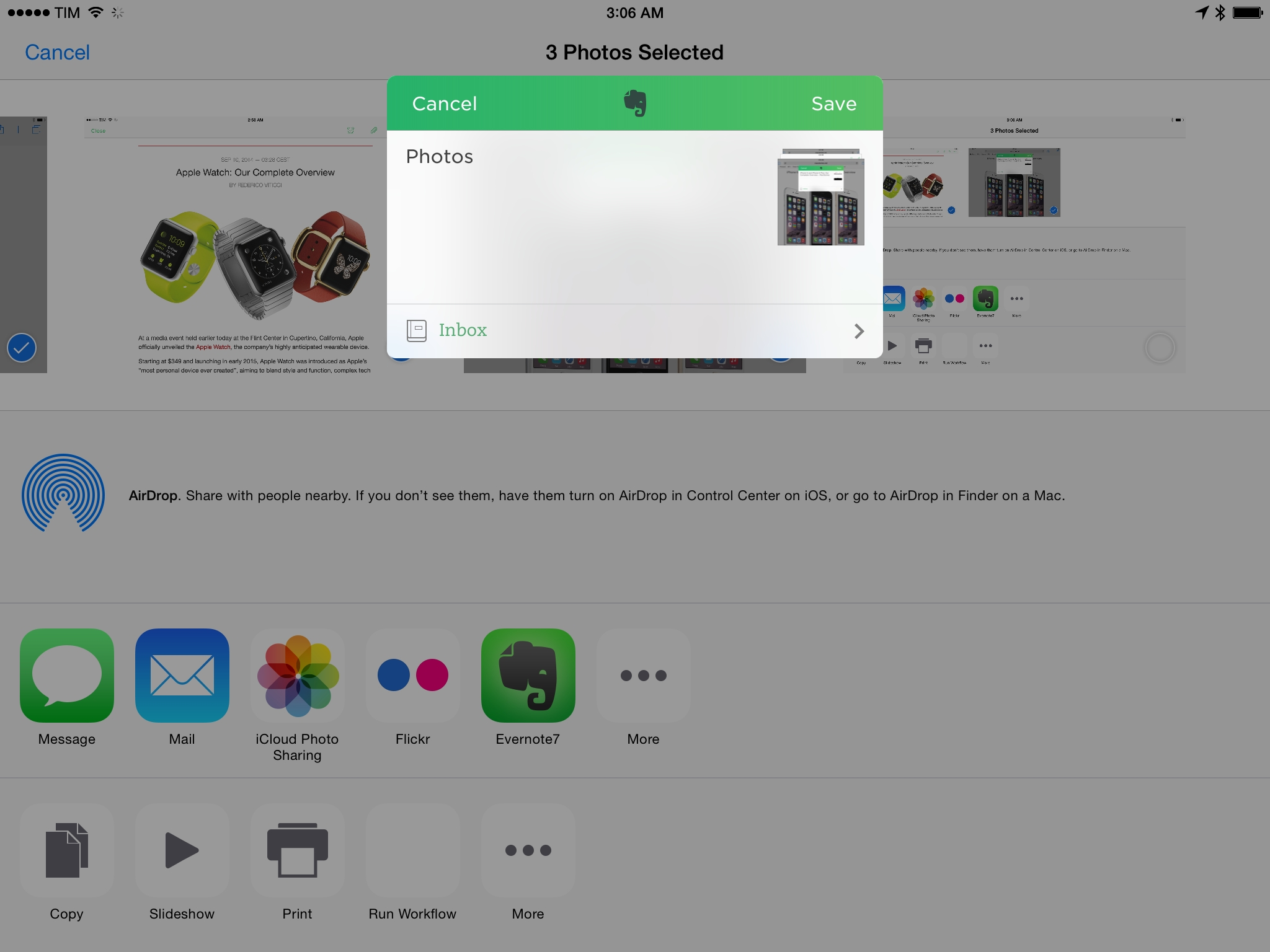 Evernote's share extension in the Photos app.