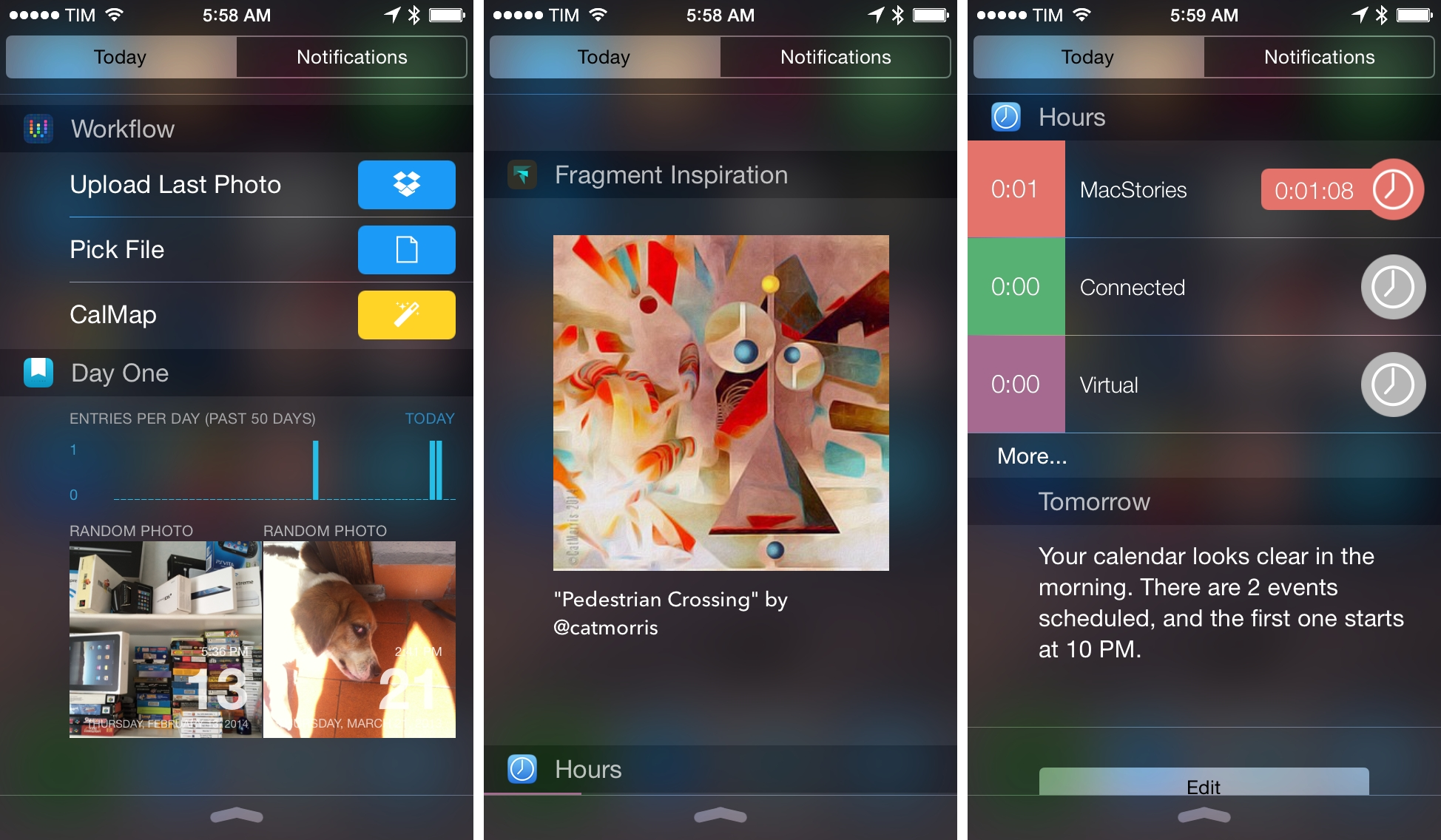 Left to right: Workflow, Day One, Fragment, and Hours widgets.