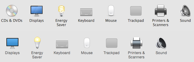 Mavericks (top) and Yosemite (bottom) have different lightbulbs.