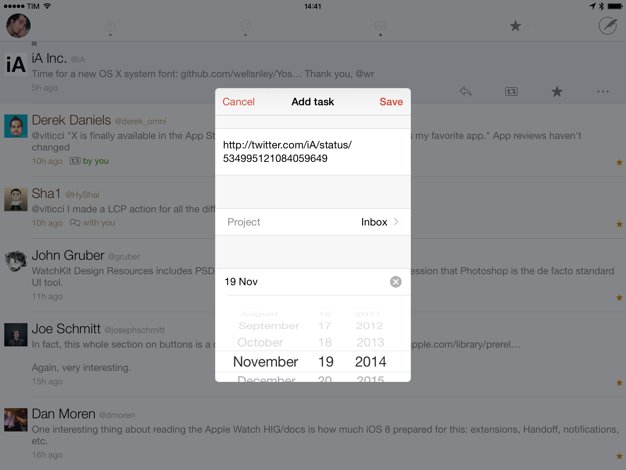 Saving tweets to Todoist from Twitterrific.