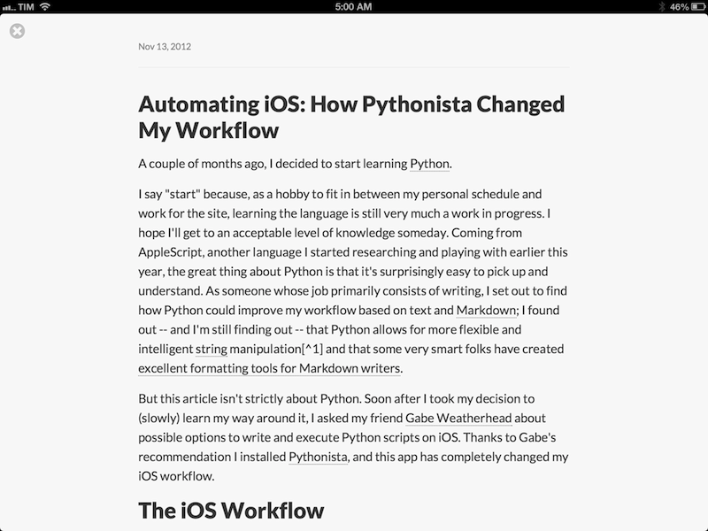 Automating iOS: How Pythonista Changed My Workflow - MacStories